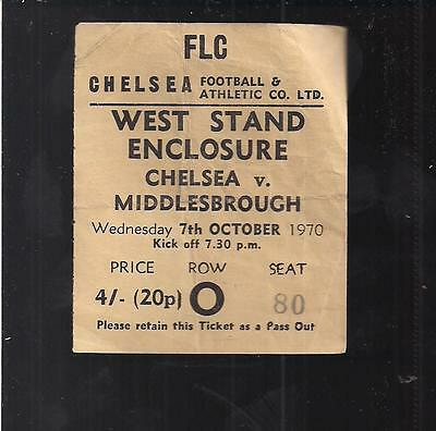 Chelsea v Middlesbrough 1970 League Cup Match Ticket
