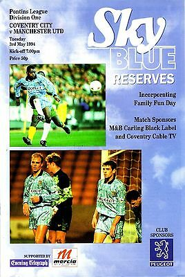 COVENTRY v MANCHESTER UNITED 1993/94 RESERVES