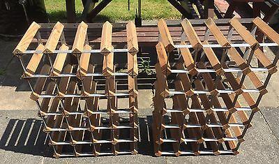 2 Wooden And Metal Wall Mounted Wine Racks 48 Bottles Good Condition