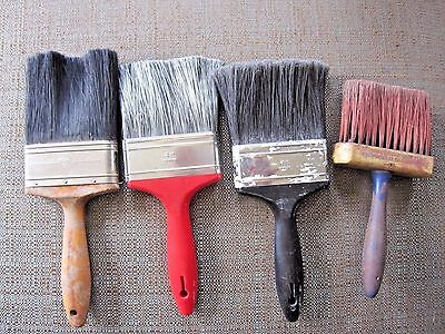 "4 Vintage Paint Brushes house fence painting 4"" Artwork"