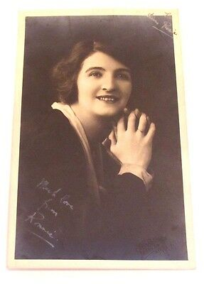 Collectable Vintage 1910 / 1920s Large Photograph Print Autograph Girl Actress