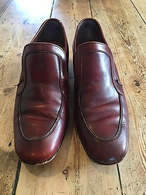 Vintage Men's Red Leather Loafers Made In England Size 7.5