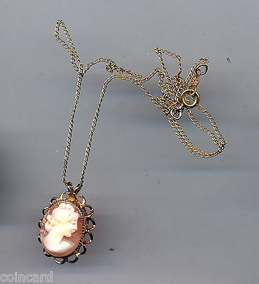 Vintage 14Kt Gold Filled Cameo Pendant and Chain, Signed DEC