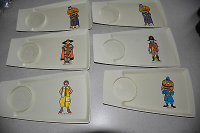 Vintage Lot Of 6 Mcdonalds Happy Meal Food Plate Trays 1970's Wow!!!
