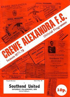 CREWE v SOUTHEND 1977/78 DIVISION 4