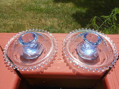 Pair Vintage Imperial Candlewick Viennese Blue Etched Mushroom Candlesticks