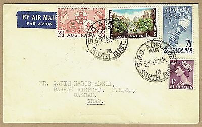Australia 1957 airmail cover to Iraq (!) Olympic franking - correct 2/- rate