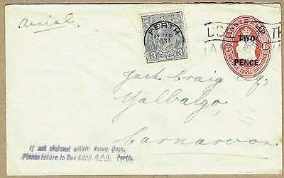 Australia Stationery 1930 KGV Oval 2d Surcharge Envelope uprated for airmail