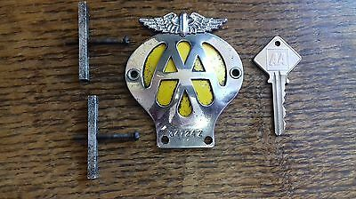 Rare Smaller Motorcycle Aa Badge ,  With Key. Classic / Vintage Motorbike