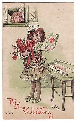 Antique 1910 My Valentine Cupid Peeks Through Window At Sweetheart Postcard