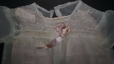 Vintage baby girl clothes , Two piece Dress , White Sheer Tulle , Size 6-12 Mo.