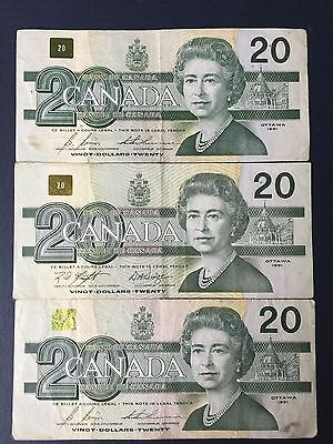 Canada $20 Dollars, OTTAWA 1991 Bird Series, 1 Note from lot of 3, circulated