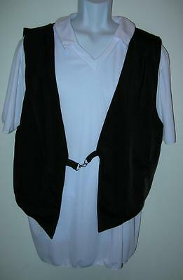 COSTUME GALLERY Mens Dance Costume XL White Shirt Black Vest DEFECT