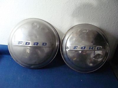 Old Metal Ford Moon Hubcaps- Nice Collectibles