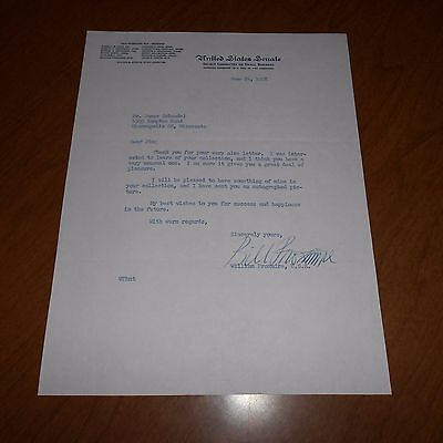 Edward Proxmire was an American Hand Signed 1958 US Senate Letterhead