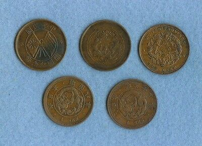 5 coins from China and Japan early 1900's