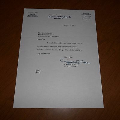 Clifford P Case was an American Hand Signed 1958 US Senate Letterhead