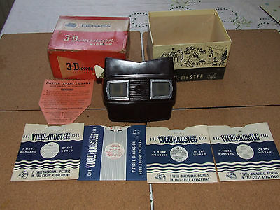 Sawers Bakelite View-Master Model E & 4 Reels With Box