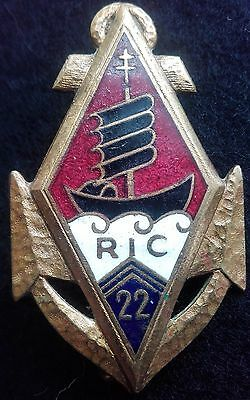 French 22 Colonial Infantry Regiment Badge 22 Ric  Indochina 1946 (Beranger)