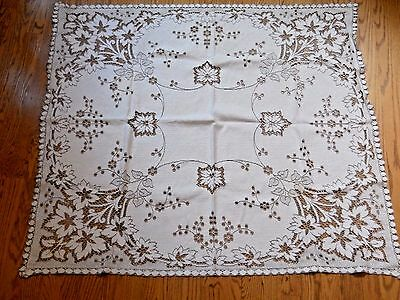 Vintage Ecru and off white cutwork tablecloth (278)