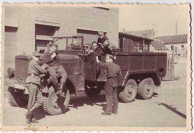 German Wwii Photo From Russian Archive: Group Of Soldiers With Opel Blitz Truck