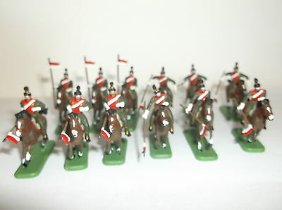 PAINTED SOLDIERS 1/72 20mm  - FRENCH LANCERS - NAPOLEONIC WARS - x 12 HAT
