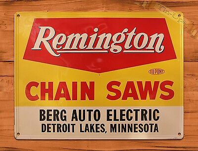 "TIN-UPS TIN SIGN ""Remington Chain Saws"" Vintage Rustic Wall Decor Garage Repair"