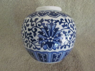 Vintage Blue White Hand Painted Chinese Tea Caddy Ginger