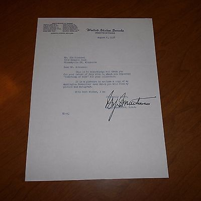 George  Smathers was an American Hand Signed 1958 US Senate Letterhead