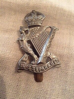 The Royal Irish Rifles  White Metal Cap Badge WW2  - 100% Original .