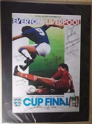 1986 FA CUP FINAL SIGNED POSTER. LIVERPOOL vs. EVERTON. 11 PLAYERS & MANAGERS
