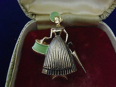 VINTAGE 1950s signed 'GLOBUS' CRINOLINE PERIOD LADY WITH PARASOL ELOXAL BROOCH