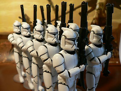 STAR WARS Clone Squad marching (10x Clone Trooper + extra Stands) - EPISODE II