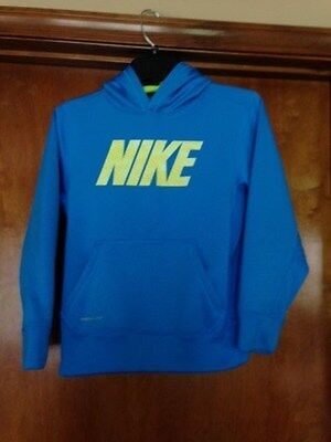 Nike Kid's Therma-Fit Hoodie Size Medium 10-12 Blue/Yellow Trim  FAST SHIPPING