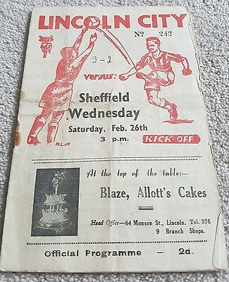 1949 Lincoln City Programmes: Sheffield Wednesday