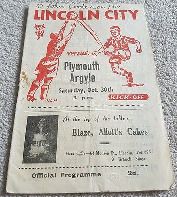 1948 Lincoln City Programmes: Plymouth Argyle