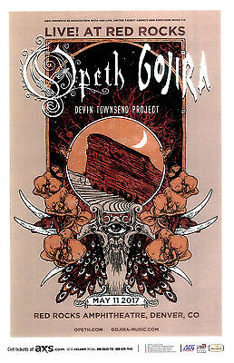OPETH & GOJIRA May 11th 2017 Live @ Red Rocks 11x17 Gig Flyer / Concert Poster