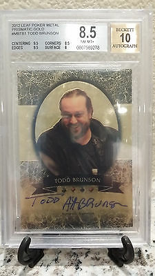 2012 Leaf Razor Metal Poker - TODD BRUNSON - Auto - True 1/1 Gold - 2011 2012