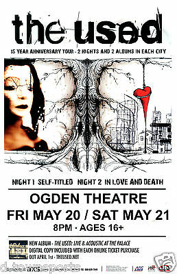 THE USED 15 Year Anniversary 2016 Ogden - Denver 11x17 Concert Flyer / Poster