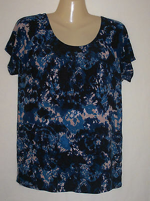 Womens CATO Short Sleeve Casual Top Blouse Size M Blue Multicolor