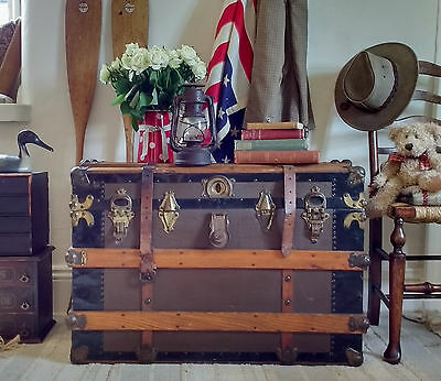 OLD TRAVEL TRUNK Antique Box VINTAGE TRUNK Storage Chest SIDE TABLE Linen Box