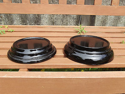 Pair Of Large Art Deco Round Black Glass Stands/plinths