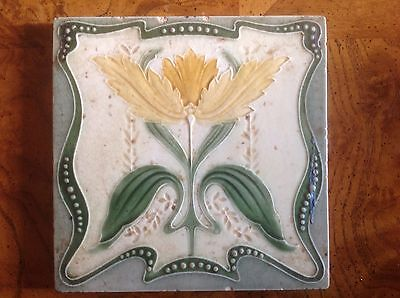 Antique vintage Art nouveau majolica tile