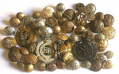 Lot of 51 Mostly British & Colonial Buttons and 4 Cap Badges