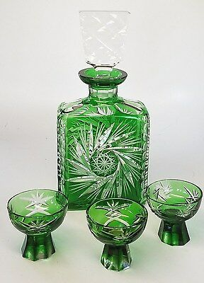Beautiful green & clear cut lead crystal decanter with 3 shot glasses