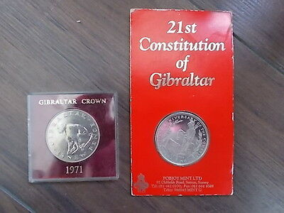 JOB LOT OF 2 CROWNS GIBRALTAR 1971 BARBARY APE & 1990 21st CONSTITUTION LOT 9