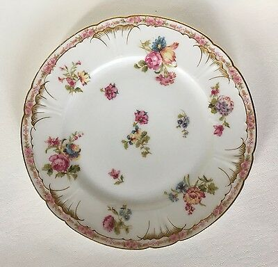Beautiful Limoges Plate with Flowers and Gold Trim