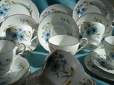 Lovely Paragon Bone China Tea Cup Saucer and Plate Trios x 6 - Cornflower