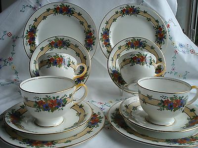 Pretty Vintage Aynsley Bone China Tea Cup Saucer and Plate Trios x 4