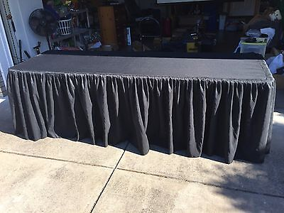 Tektrum 8 Ft Long Fitted Table Skirt Cover For Trade Show Dj - Black Color